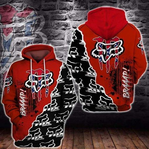 OFFICIAL-FOX-RACING-REBEL-PULLOVER-HOODIES/NEON-RED-3D-GRAPHIC-PRINTED-DESIGN!!