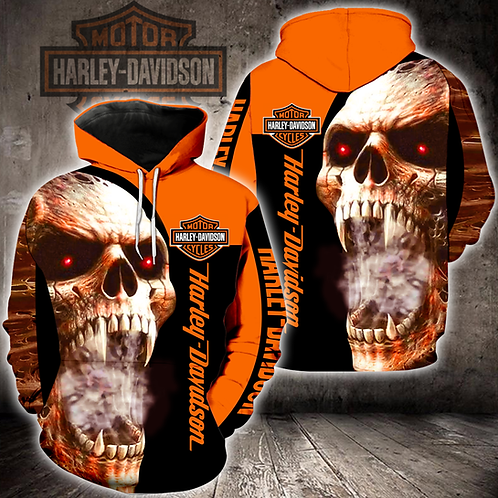 OFFICIAL-HARLEY-DAVIDSON-PULLOVER-HOODIES/CUSTOM-3D-GRAPHIC-PRINTED-FANGED-SKULL
