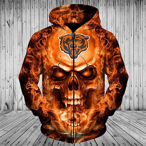 *(OFFICIAL-N.F.L.CHICAGO-BEARS-TEAM-NEON-SKULL-3D-CUSTOM-WARM-ZIPPERED-HOODIES)*