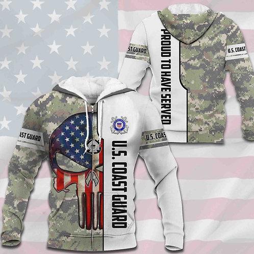 OFFICIAL-U.S.COAST-GUARD-CAMO.ZIPPERED-HOODIES/CUSTOM-3D-PRINTED-PUNISHER-SKULL!
