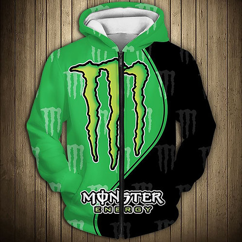 OFFICIAL-MONSTER-ENERGY-ZIPPERED-HOODIES/CUSTOM-3D-GRAPHIC-PRINTED-DOUBLE-SIDED!