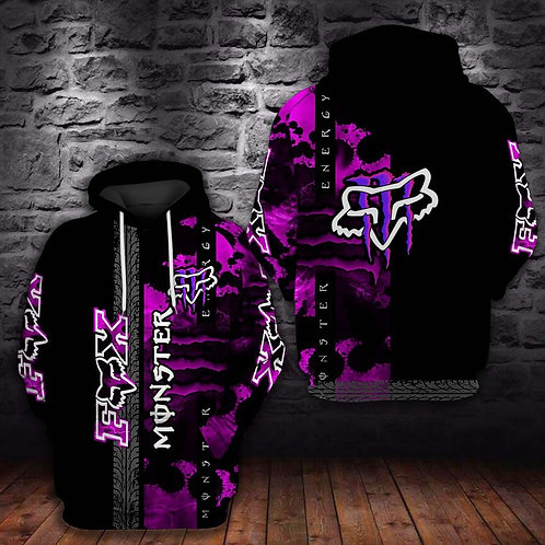 OFFICIAL-MONSTER-ENERGY & FOX-RACING-PULLOVER-HOODIES/NEW-CUSTOM-3D-NEON-PURPLE!
