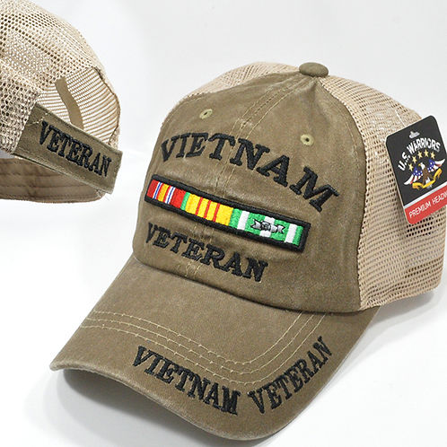 OFFICIAL-VIETNAM-VETERAN & VIETNAM-WAR-VETERANS-COMBAT-RIBBON/CUSTOM-MESH-HAT!!
