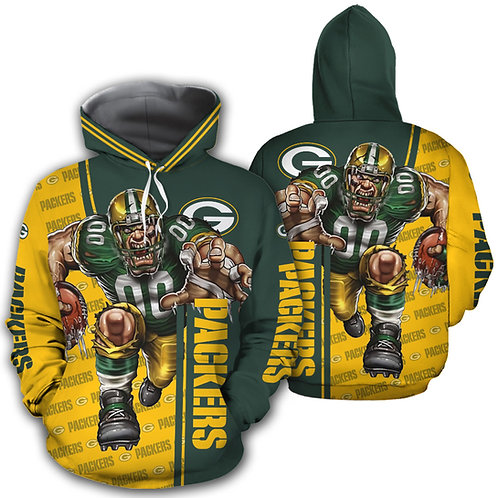 *OFFICIAL-N.F.L.GREEN-BAY-PACKERS-PULLOVER-HOODIES/CUSTOM-3D-GRAPHIC-PRINTED*