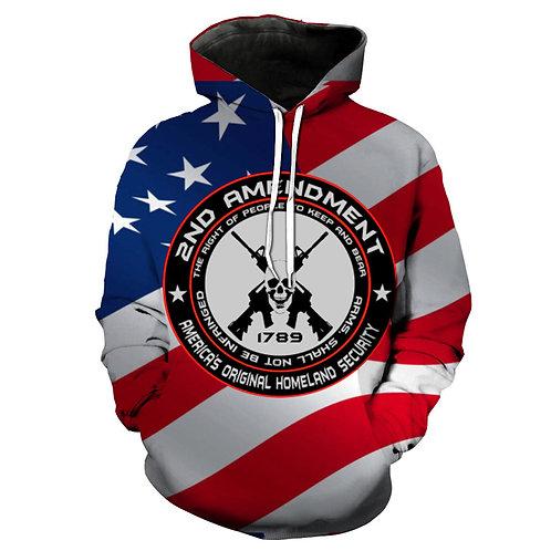 OFFICIAL-2ND-AMENDMENT/3-D-AMERICAS-ORIGINAL-HOMELAND-SECURITY/PULLOVER-HOODIES*