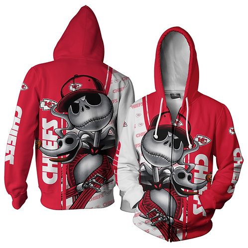 OFFICIAL-N.F.L.KANSAS-CITY-CHIEFS-ZIPPERED-HOODIES/NEW-CUSTOM-3D-JACK-SKELETON!!