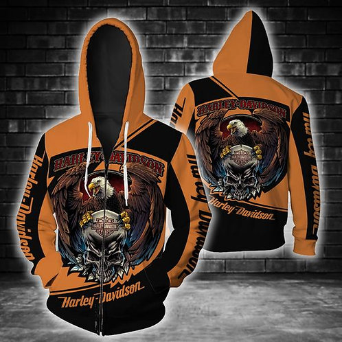 OFFICIAL-HARLEY-DAVIDSON-MOTORCYCLE-ZIPPERED-HOODIE/NEW-3D-CUSTOM-HARLEY-EAGLE!
