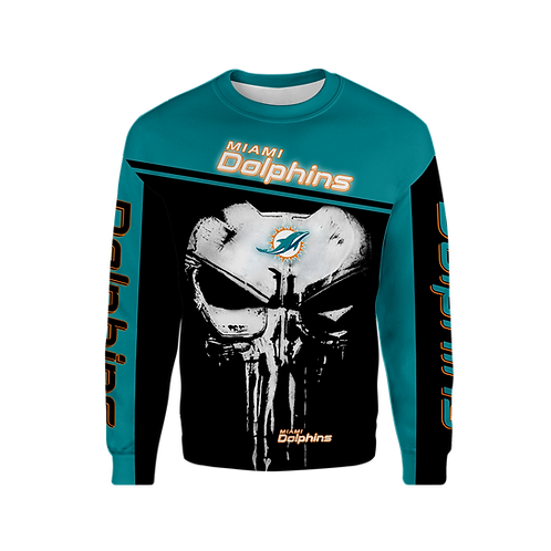 OFFICIAL-N.F.L.MIAMI-DOLPHINS-TEAM-LONG-SLEEVE-TEES/NEW-CUSTOM-3D-PUNISHER-SKULL