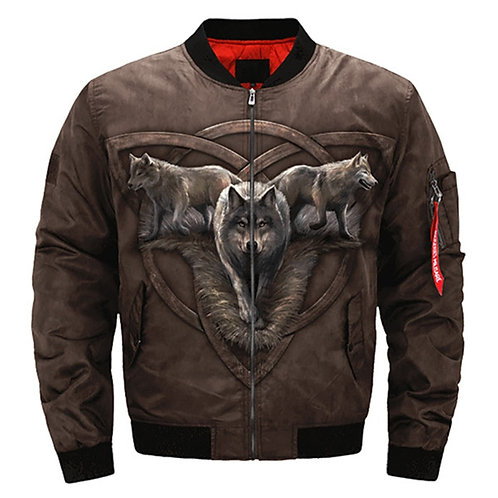 *STUNINGLY-BEAUTIFUL-WOLF-TRIO-IN-THE-WILD-ON-THE-PROWL/3D-CUSTOM-FLIGHT-JACKET*