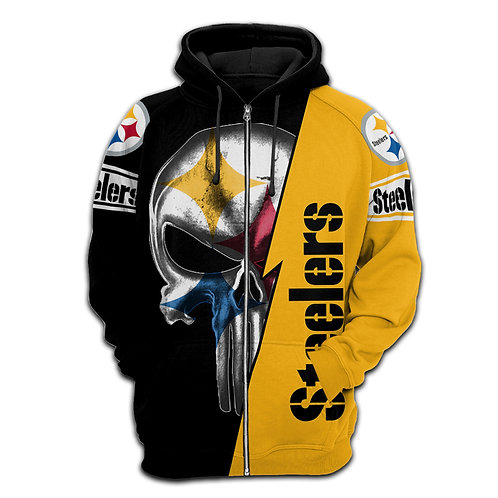 OFFICIAL-N.F.L.PITTSBURGH-STEELERS-ZIPPERED-HOODIES/NEW-CUSTOM-3D-PUNISHER-SKULL