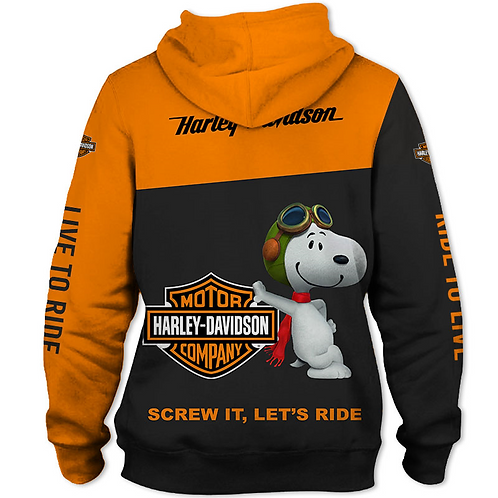 OFFICIAL-HARLEY-DAVIDSON-MOTORCYCLE-PULLOVER-HOODIE & CHARLIE-BROWNS-SNOOPY-DOG!