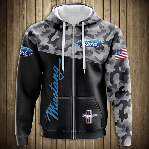 OFFICIAL-FORD-CAMO.ZIPPERED-HOODIES/CUSTOM-3D-PRINTED-DOUBLE-SIDED-CAMO.HOODIES!