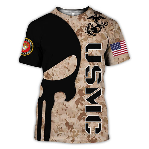 OFFICIAL-U.S.MARINES-MILITARY-TEES/NEW-CUSTOM-3D-GRAPHIC-PRINTED-PUNISHER-SKULL!
