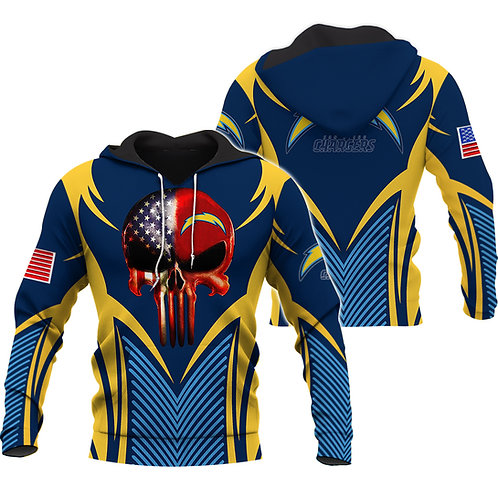 OFFICIAL-NFL-LOS-ANGELES-CHARGERS-PULLOVER-HOODIE/CUSTOM-3D-FLAG-PUNISHER-SKULL!
