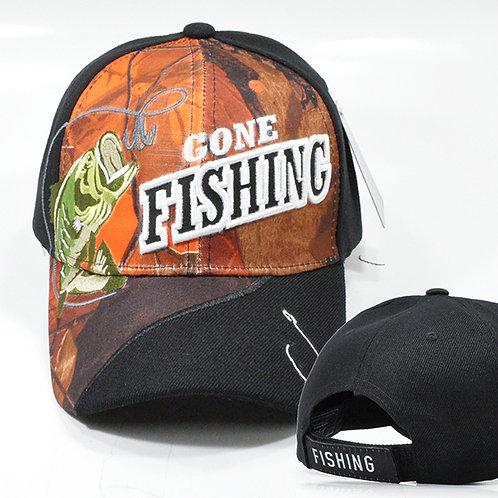 *(OFFICIAL-GONE-FISHING-SPORT-HATS & HOOK/TWO-TONE-BLACK & BLAZE-ORANGE-CAMO.)*