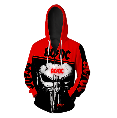 OFFICIAL-AC/DC-CLASSIC-ROCK-BAND-ZIPPERED-HOODIE/CUSTOM-3D-PUNISHER-SKULL-DESIGN