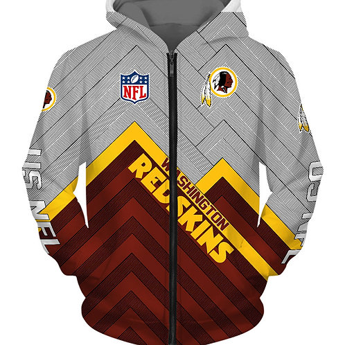 *OFFICIAL-N.F.L.WASHINGTON-REDSKINS/NEW-3D-CUSTOM-PRINTED-TEAM-ZIPPERED-HOODIES*