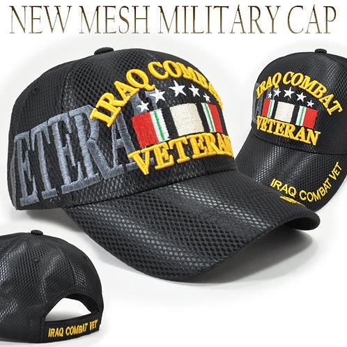 OFFICIAL-IRAQ-COMBAT-VETERAN & IRAQ-COMBAT-RIBBON/NEW-3D-CUSTOM-BLACK-MESH-HATS!