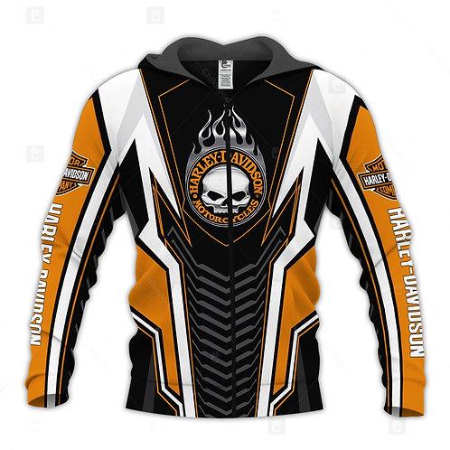 HARLEY-DAVIDSON-MOTORCYCLE-BIKER-ZIPPERED-HOODIE/CUSTOM-3D-SKULL & HARLEY-LOGOS!
