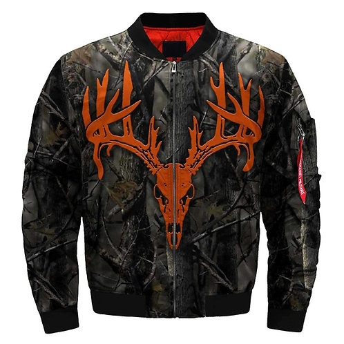 **(BIG-TROPHY-BUCK-BLAZE-ORANGE-DEER-SKULL/3D-CUSTOM-PRINTED-BOMBER-JACKETS)**