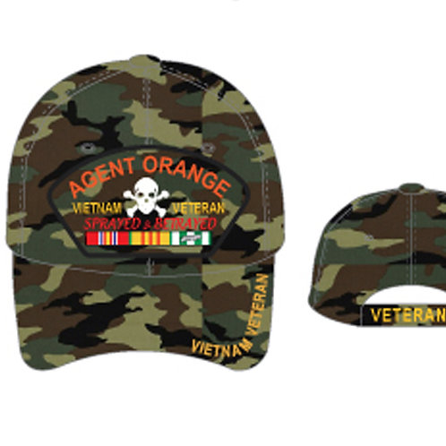 OFFICIAL-VIETNAM-VETERAN-COMBAT-RIBBON-CAMO-HATS/AGENT-ORANGE-SPRAYED & BETRAYED