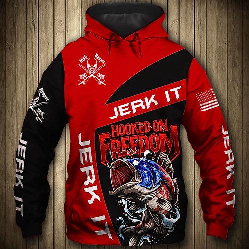 OFFICIAL-SPORT-FISHING-PULLOVER-HOODIES/CUSTOM-3D-HOOKED-ON-FREEDOM & JERK-IT!!