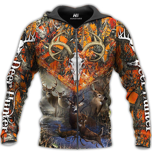 BIG-TROPHY-BUCK-SKULL-CAMO.ZIPPERED-HOODIE/DEER-HUNTERS-CUSTOM-3D-GRAPHIC-DESIGN