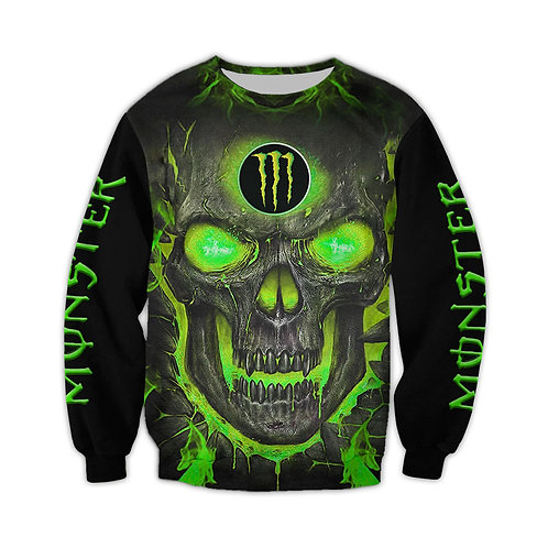 OFFICIAL-MONSTER-ENERGY-FASHION-LONG-TEES/CUSTOM-3D-GRAPHIC-NEON-GLOWING-SKULL!!