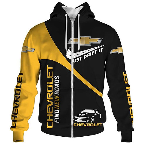 OFFICIAL-CHEVY-ZIPPERED-HOODIES/CUSTOM-PRINTED-3D-OFFICIAL-CHEVY-FIND-NEW-ROADS!