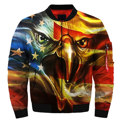 *(NEW-PATRIOTIC-BALD-EAGLE & FLAG-BACK-GROUND/3D-CUSTOM-PRINTED-BOMBER-JACKETS)*