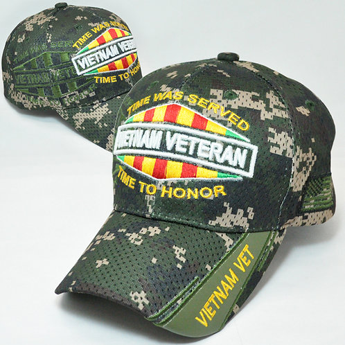 OFFICIAL-VIETNAM-VETERAN & VIETNAM-WAR-COMBAT-RIBBON/CUSTOM-GREEN-CAMO-MESH-HATS