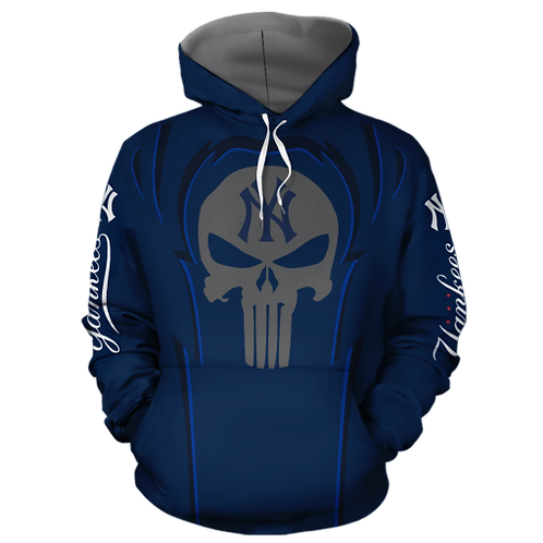 OFFICIALLY-LICENSED-M.L.B.NEW-YORK-YANKEES/CUSTOM-3D-SKULL-PULLOVER-TEAM-HOODIES