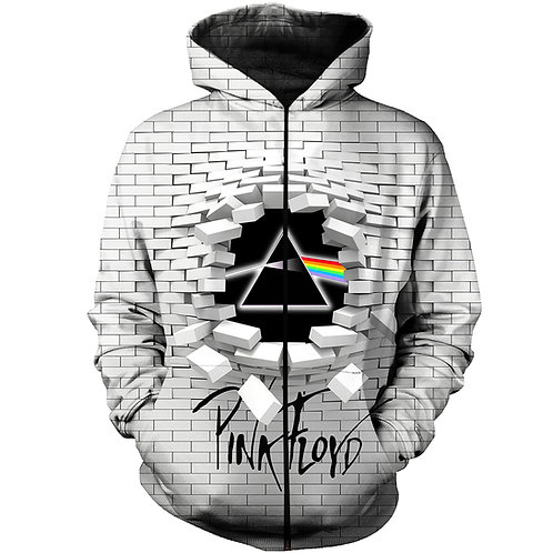 OFFICIAL-PINK-FLOYD/THE-WALL & PRISM-ZIPPERED-HOODIE/NEW-CUSTOM-3D-PRISM-DESIGN!