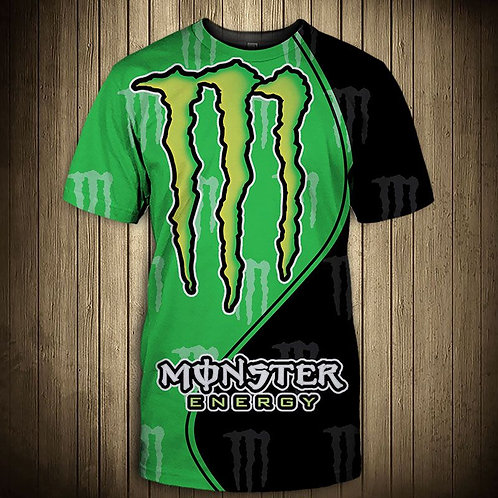 OFFICIAL-MONSTER-ENERGY-NEON-GREEN-TEES/CUSTOM-3D-GRAPHIC-PRINTED-DOUBLE-SIDED!