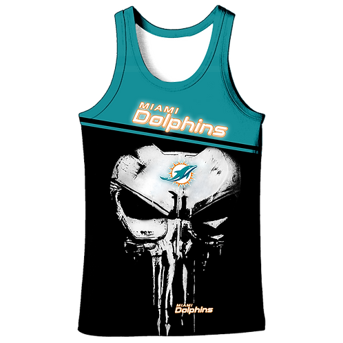 OFFICIAL-N.F.L.MIAMI-DOLPHINS-TEAM-TANK-TOPS/CUSTOM-3D-GRAPHIC-PUNISHER-SKULL!!