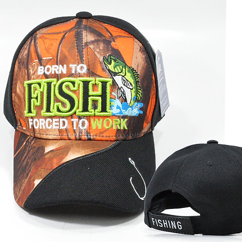 OFFICIAL-FISHING-SPORT/BORN-TO-FISH-FORCED-TO-WORK-HAT/CUSTOM-BLAZE-ORANGE-CAMO.