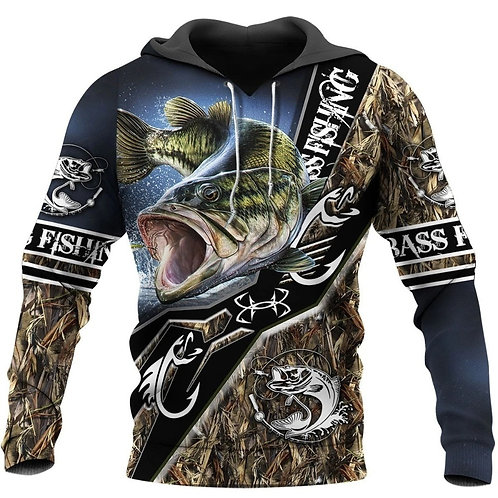 OFFICIAL-SPORT-FISHING-PULLOVER-HOODIES/CUSTOM-3D-PRINTED-GRAPHIC-BASS-FISHING!!