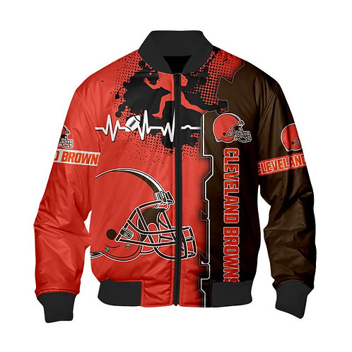 OFFICIAL-N.F.L.CLEVELAND-BROWNS-TEAM-SPORT-JACKETS/NEW-CUSTOM-3D-PRINTED-DESIGN!