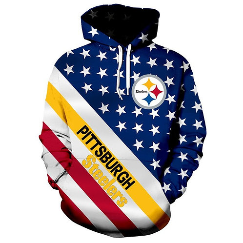 *N.F.L.PITTSBURGH-STEELERS/3D-CUSTOM-PATRIOTIC-STARS & STRIPES-PULLOVER-HOODIES*