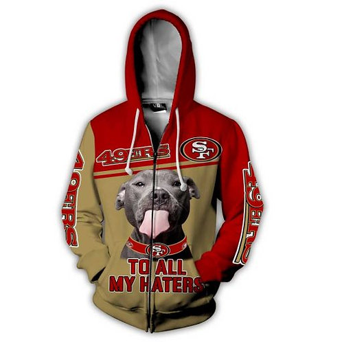 OFFICIAL-N.F.L.SAN-FRANCISCO-49ERS-ZIPPERED-HOODIES/CUSTOM-3D-TO-ALL-MY-HATERS!!