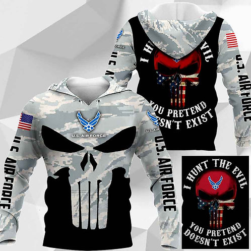 OFFICIAL-U.S.AIR-FORCE-CAMO-PULLOVER-HOODIES/CUSTOM-3D-PRINTED-PUNISHER-SKULL!!