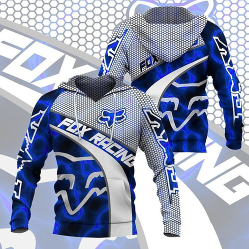 OFFICIAL-FOX-RACING-NEON-BLUE-PULLOVER-HOODIES/CUSTOM-3D-GRAPHIC-PRINTED-DESIGN!