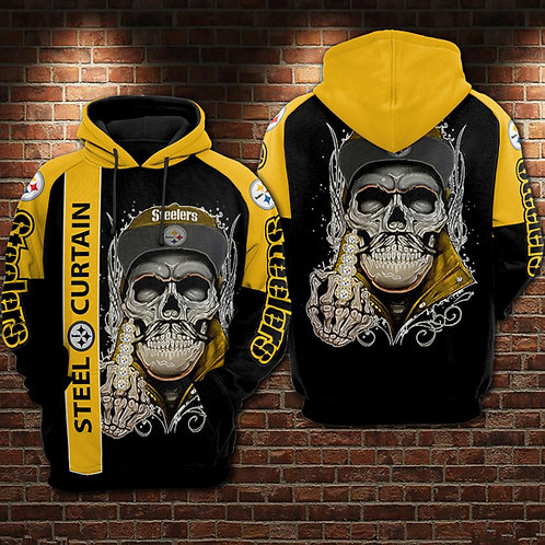 OFFICIAL-N.F.L.PITTSBURGH-STEELERS-PULLOVER-HOODIES/CUSTOM-PRINTED-STEEL-CURTAIN