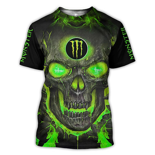OFFICIAL-MONSTER-ENERGY-FASHION-TEES/NEW-CUSTOM-3D-GRAPHIC-NEON-GLOWING-SKULL!!
