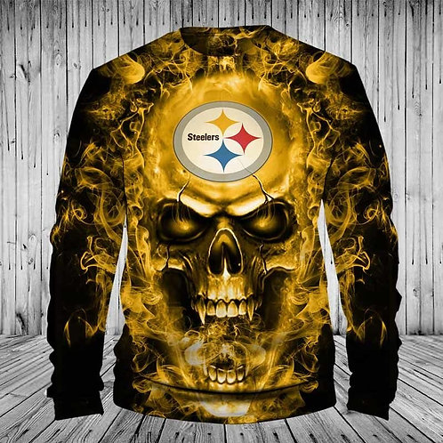 *OFFICIAL-N.F.L.PITTSBURGH-STEELERS/NEW-3D-CUSTOM-PRINTED-LONG-SLEEVE-TEAM-TEES*