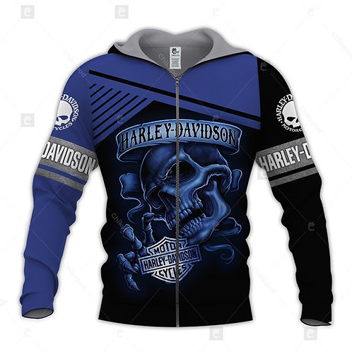 OFFICIAL-HARLEY-DAVIDSON-MOTORCYCLE-ZIPPERED-HOODIE/CUSTOM-HARLEY-BIKER-SKULL!!