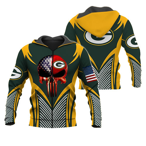 OFFICIAL-N.F.L.GREEN-BAY-PACKERS-ZIPPERED-HOODIE/CUSTOM-3D-FLAG-PUNISHER-SKULL!!
