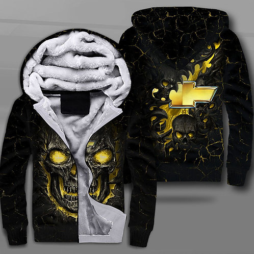 BIG-FIREY-NEON-SKULL-THEMED-OFFICIAL-CHEVY-FLEECE-JACKET/NEW-CUSTOM-3D-PRINTED!!