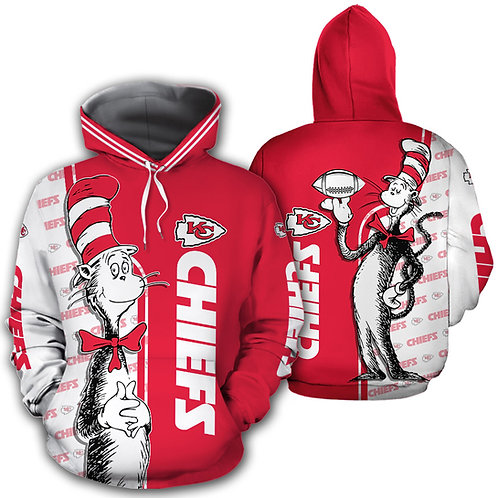 OFFICIAL-N.F.L.KANSAS-CITY-CHIEFS-PULLOVER-HOODIES/NEW-CUSTOM-3D-CAT-IN-THE-HAT!