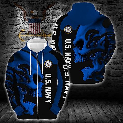 OFFICIAL-U.S.NAVY-VETERANS-ZIPPERED-HOODIES/CUSTOM-3D-PRINT-TRIBAL-SKULL-DESIGN!